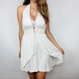 Free People white layered flowy halter dress